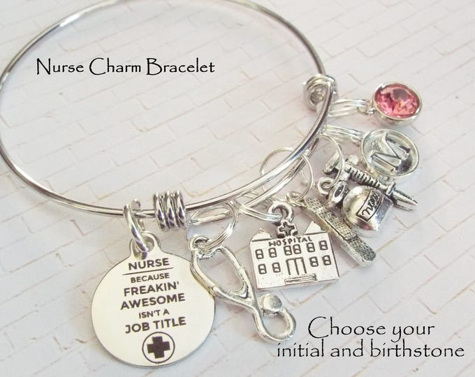 Gift for Nurse, Nurse Gift, Nurse Graduation Charm Bracelet, Graduation Gift Nurse, RN Graduation Gift, Personalized Gift, Gift for Her