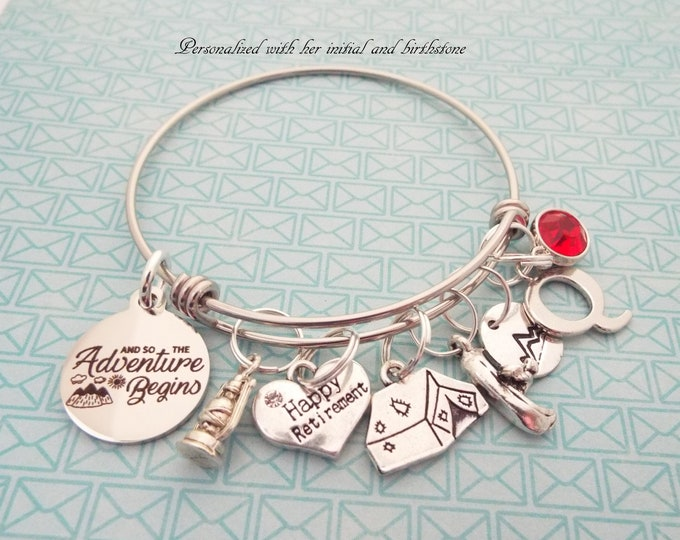 Gift for Retiree, Retirement Gift, Personalized Gift, Custom Jewelry, Gift for Her, Silver Jewelry, Bangle Bracelet, Charm Bracelet, Initial