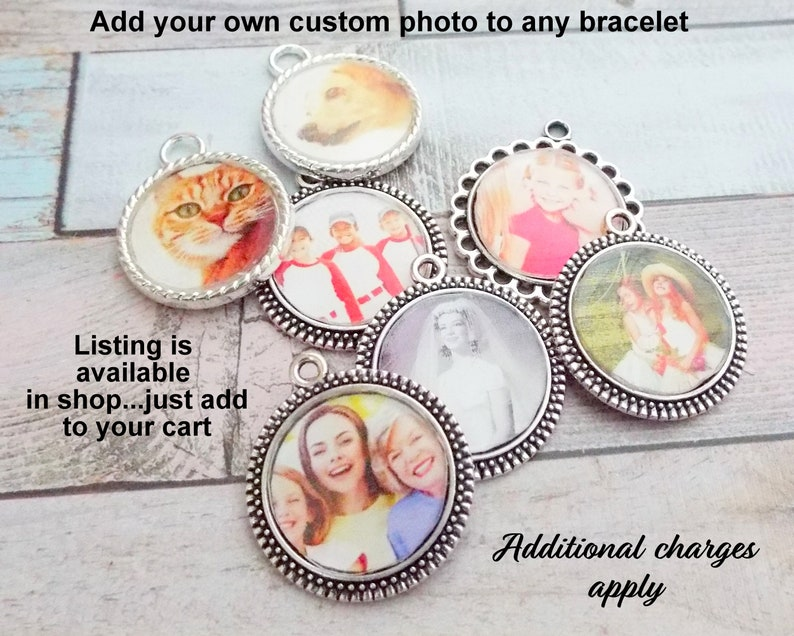 Add On a Custom Photo to Any Bracelet Custom Photo for Charm image 0
