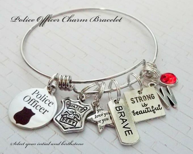 Police Officer Charm Bracelet, Female Police Officer Gift, Thank You Gift for Police Officer, Police Officer Graduation Gift, Gift for Her