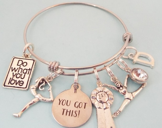 Gymnastic Charm Bracelet, Gift for Gymnast, Sports Jewelry, Gift for Her, Personalized Gift, Custom Bracelet, Customized Gift for Girl