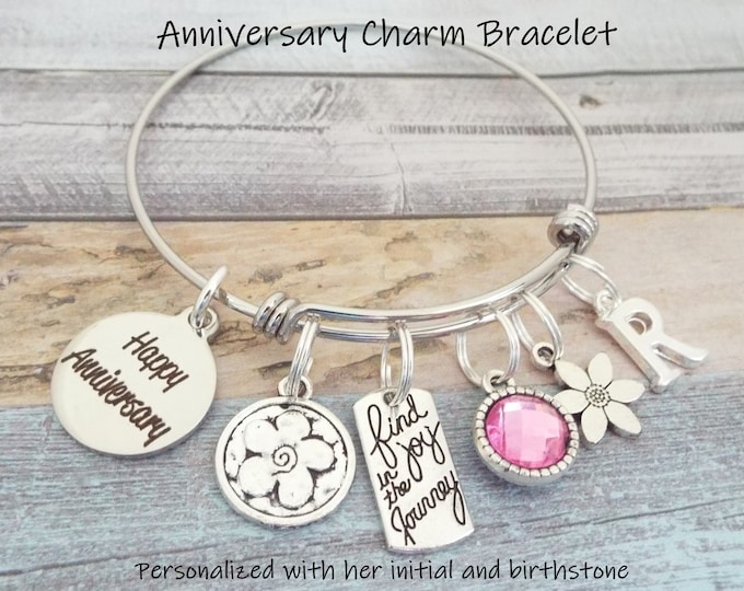 Anniversary Gift Charm Bracelet, Gift for Anniversary, Personalized Gift, Gift for Her, Woman's Anniversary, Custom Jewelry, Jewelry for Her