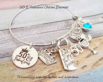 50th Birthday Charm Bracelet, Gift for Woman Turning 50, 50th Birthday Gift, Handmade Jewelry, Personalized Gift, Custom Jewelry, Girl Gift