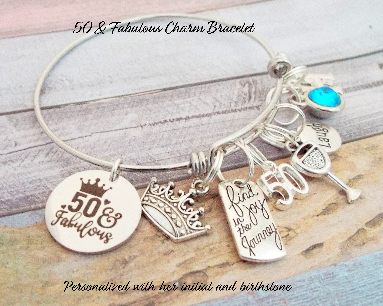 50th Birthday Charm Bracelet Gift For Woman Turning 50 Handmade Jewelry Personalized Custom Girl