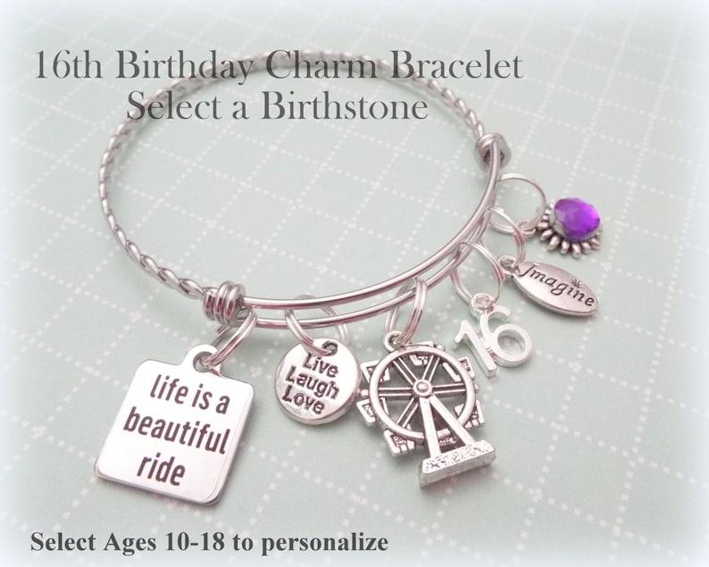 Teenage Girl Birthday Gift 16th Charm Bracelet