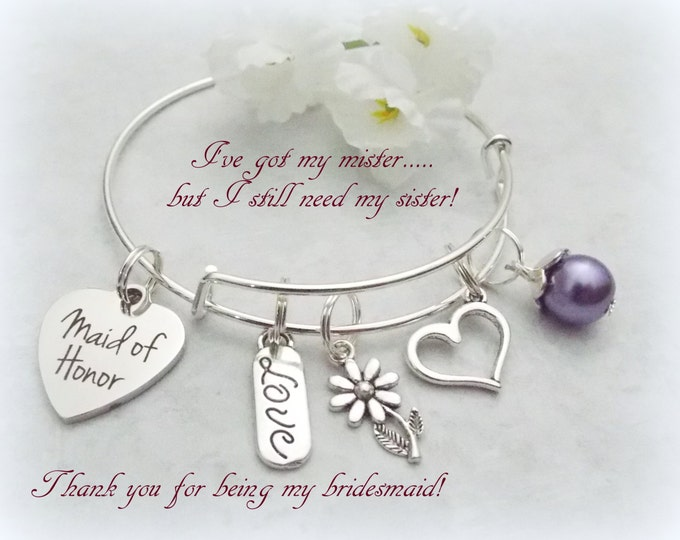 Bride Gift, Maid of Honor Gift, Maid of Honor Bracelet, Gift from Bride, Bridesmaid Gift, Bride to Maid of Honor, Bridal Jewelry, Gift Idea