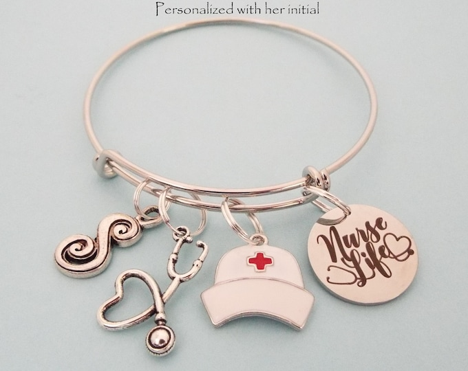 Nurse Graduation Gift, Personalized Nurses Charm Bracelet, Nursing Gift, RN Graduate Gift, Gift for Her, Nursing Graduation, Initial Jewelry