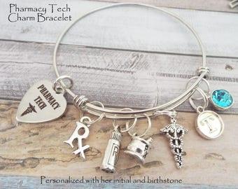 Pharmacy Tech Charm Bracelet, Graduation Gift for Pharmacy Techs, Personalized Gifts, Custom Jewelry, Gifts for Her, Gift for Pharmacy Tech