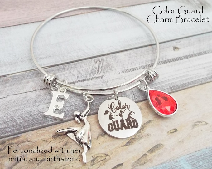 Color Guard Charm Bracelet, Flag Cheering, Cheerleader Personalized, Gift for Her, Teenage Age Girl Gift, Teenager Gift. Sports Jewelry