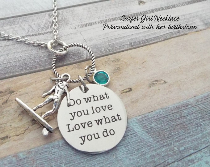 Surfing Necklace, Surfer Gift, Sports Jewelry, Birthstone Necklace, Personalized Gift, Gift for Her, Surfer Girl Gift, Custom Jewelry
