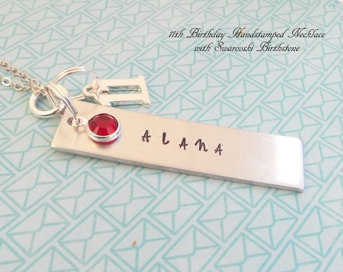 Girl 11th Birthday Name Bar Necklace, Birthstone Jewelry, Personalized Gift, Girl Turning 11, Children's Birthday, Gift for Her, Handstamped