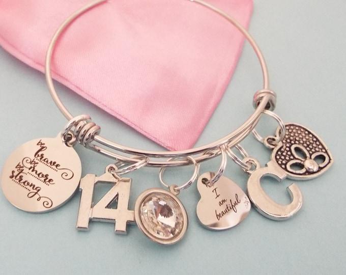 Personalized Jewelry, 14th Birthday Gift, Girl's Birthday Charm Bracelet, Teenage Girl Gift Ideas, Teenager Jewelry, Personalized Gift