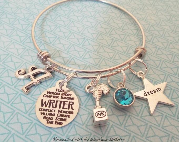 Personalized Writer Bracelet Gift, Birthstone Charm Bracelet, Gift for Her, Birthday for Girl, Initial Bracelet, Women's Jewelry, Girl Gift