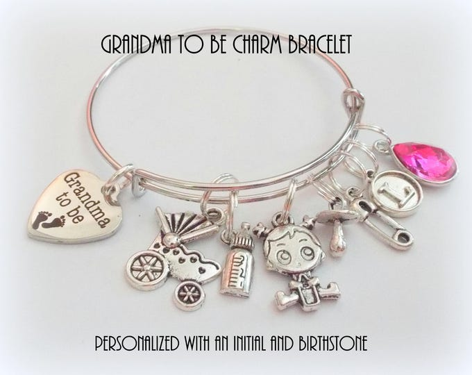 Grandma Gift, Birth Announcement Charm Bracelet, Grandmother Gift, Personalized Gift, Custom Jewelry, Gift for Her, Family Jewelry, Nana