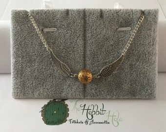 Handmade Harry Potter Golden Snitch Inspired Necklace