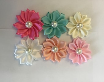 "3 pieces Turquoise blue 1.5/"" satin petal flower with pearl center //DIY headband"