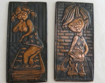 Out Of Sale //// Lot Of 2 Soviet Vintage Big Size WC And Bathroom Signs,  Сopper Plates, Сuprum Doors Signs, Toilet Signs, Doors Decoration