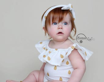Sale! Photo prop, sitter size , baby girl, white, pink, golden, matching headband