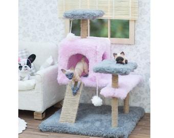 Miniature cat climbing tree, bjd cat, Doll cat, BJD pet, miniature pet, cat tree climbing scratching post, diorama accessories