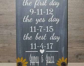 Our Love Story - Sunflower Wedding Sign - Wedding Decor - The First Day - The Best Day - The Yes Day - Wedding Date Sign - Sign For Wedding