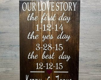 Our Love Story - Wedding Sign - Wedding Decor - The First Day - The Best Day - The Yes Day - Wedding Date Sign - Signs For Wedding - Wedding