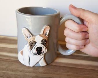 Mug, Custom Pet Portrait Mug 15 oz., pet portrait, custom pet mug, pet memorial, dog portrait, cat portrait, pet mug, dog mug, cat mug!