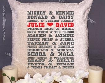 "Luxury Personalised 18"" Chenille Cushion & Pad Disney Engagement, Wedding, Birthday Gift for Girlfriend/Boyfriend,Valentines"