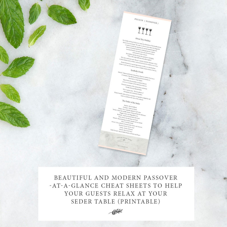 Passover Seder Cheat Sheets image 0