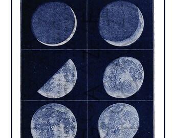VINTAGE COLOUR COLOR MOON MAP Art Print Poster Decor A4 A3 A2 Antique Book