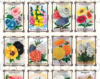 16 Art Deco Labels Flower Seed Packets Vintage Collage Sheet Digital Download. Printable Vintage Flower Seed Packets Clip Art.