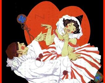 Vintage 20's Valentine's Illustration Flapper Pierrot & Columbine. Vintage Valentine's Digital Download.