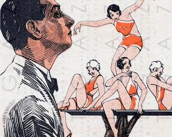FRENCH FLAPPERS A La CARTE. Rare Funny Art Deco Illustration. Flapper Digital Download. Flapper Printable.