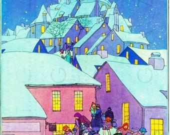 CHRISTMAS VILLAGE ! Vintage Christmas Illustration. Digital Vintage Christmas Printable. Vintage Christmas Digital Download.