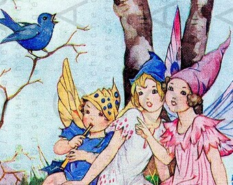 Sweet Fairies Singing With A Bird Vintage Illustration, Digital Vintage Art PRINT. Vintage Fairy DIGITAL Download.