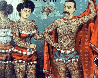 Tattooed Couple! 1800's STUNNING RARE Circus Poster. Freak Show Tattooed Woman & Man. Vintage Circus Digital Download.