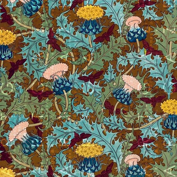 Art NOUVEAU THISTLES Floral Wallpaper STRIKING ...