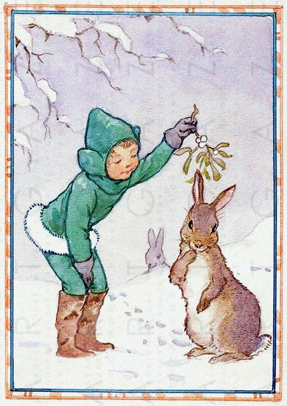 Christmas Fairy & Bunny Under A Mistletoe Branch. Vintage
