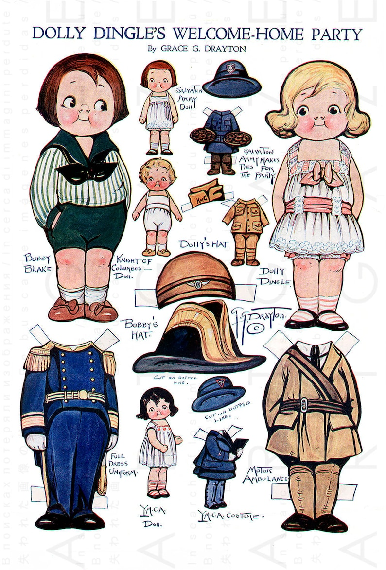 image about Printable Vintage Paper Dolls named Dolly Dingles Bash Printable Common Paper Dolls. Grace Drayton Paper Dolls. Dolly Dingle Electronic Down load.