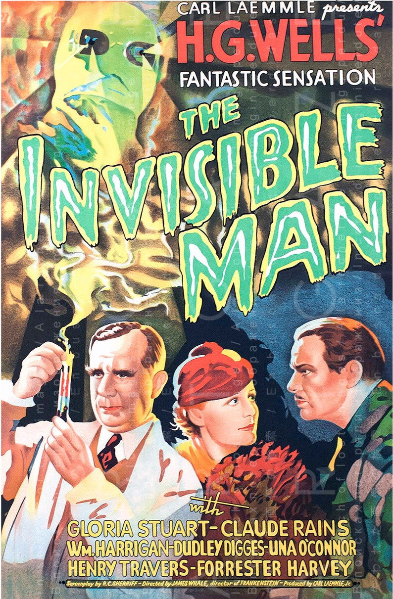 image about Movie Posters Printable identified as Impressive Common HORROR Online video Poster The Invisible Gentleman. Fab 1930s Artwork Deco Printable Wall Decor. Electronic Horror Obtain.