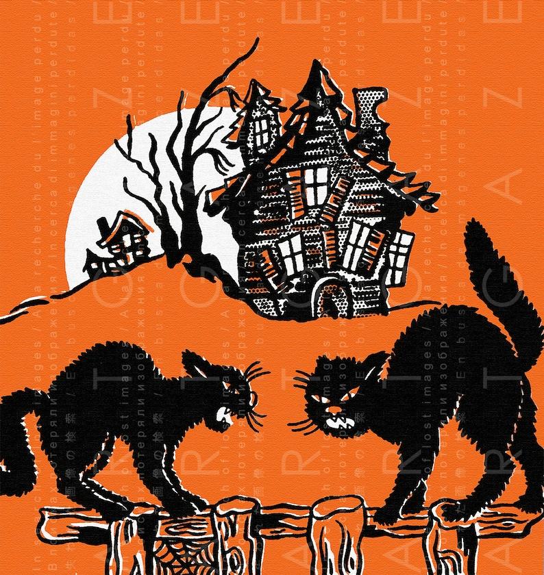 SPOOKY HALLOWEEN CATS Vintage Illustration. Vintage Halloween Decor.  Vintage Halloween Printable Digital Download.