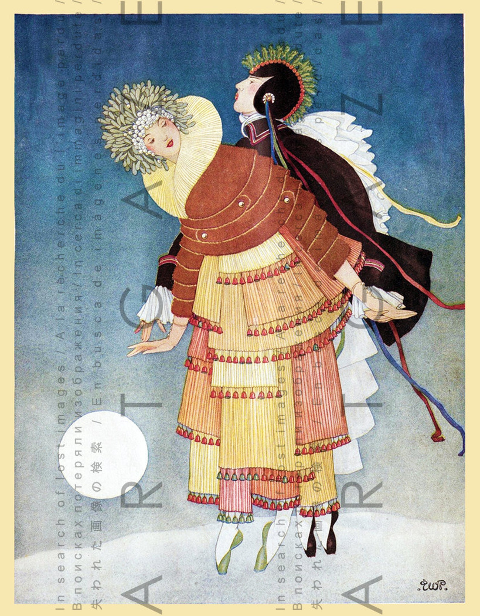 ballet vintage illustration art deco vogue cover russian ballet print. vintage dance digital download. winter download.