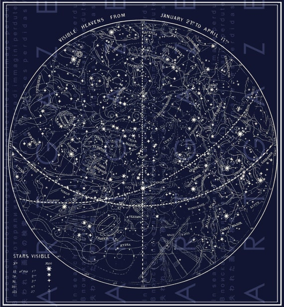 FAB Antique Illustration Celestial Print Constellations Map Of