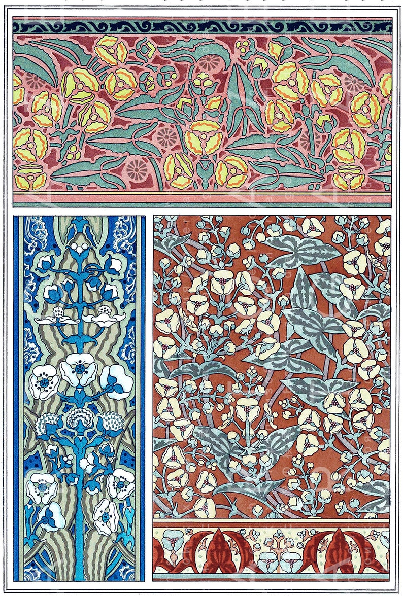 Art Nouveau Floral Wallpaper Patterns By Grasset French Etsy