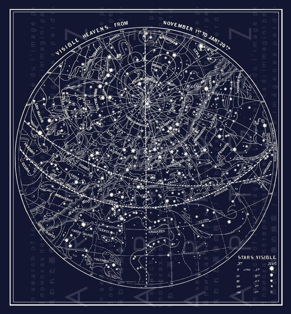 Antique Illustration Southern Sky Fall Constellations Map