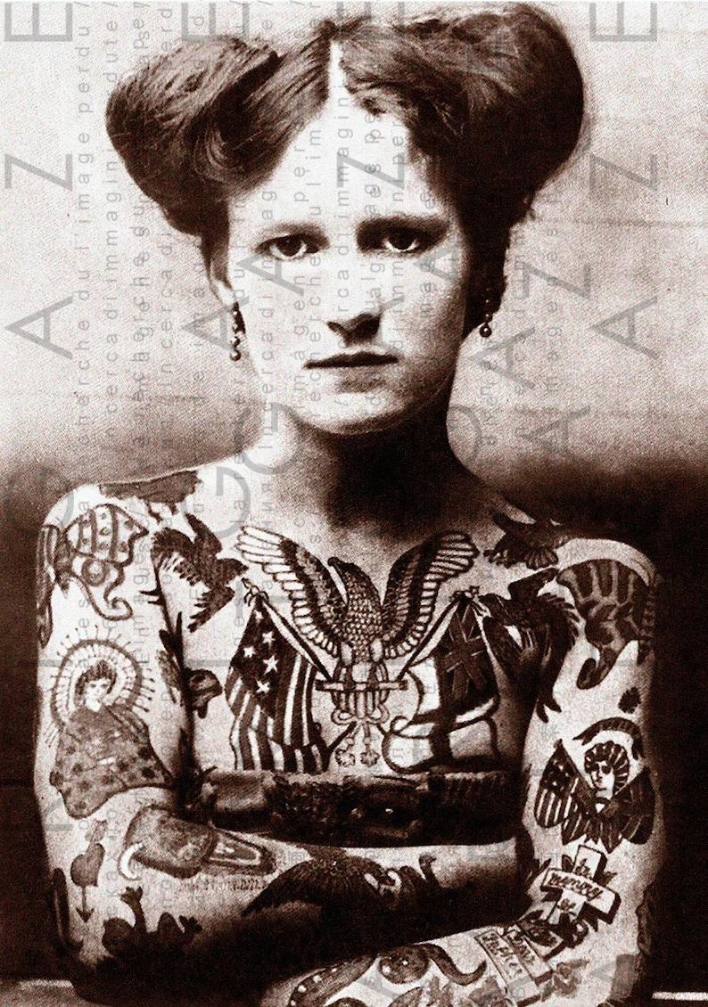 335f511ba 1900 s Tattooed Woman STUNNING Photo Edwardian CIRCUS