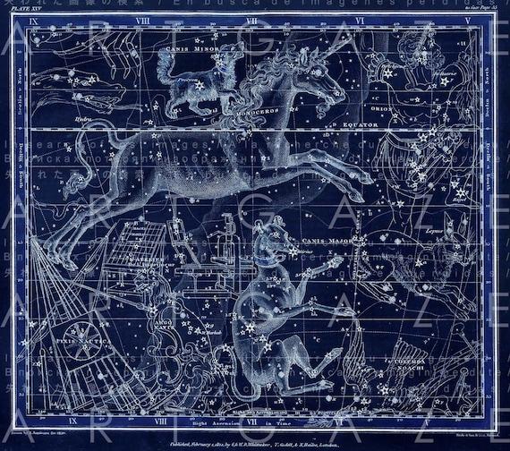 The UNICORN CONSTELLATION Vintage Print. Vintage Sky Map