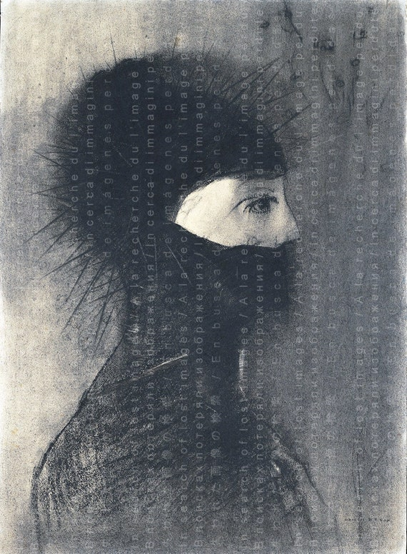 ARMOR WEIRD Pastel Drawing By Odilon Redon Great For Halloween decor 1900/'s French Print HALLOWEEN Printable Download.