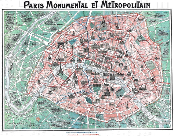 ANTIQUE PARIS MAP. Rare Art Nouveau Paris Tourist Map. French Home Decor.  Digital Map Download. Vintage Paris Digital Download.