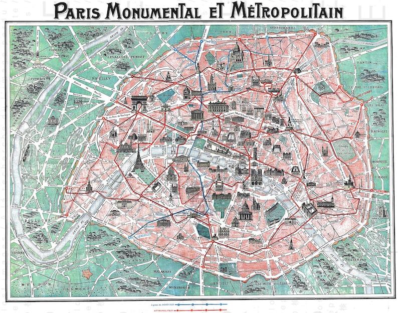 ANTIQUE PARIS MAP. Rare Art Nouveau Paris Tourist Map. French Home Decor.  Digital Map Download. Vintage Paris Digital Download.