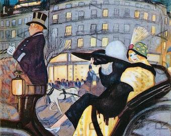 Art DECO Flappers Around PARIS Tour. Fab Vintage 1920's Illustration. Flapper Printable Vintage Image Digital Download.
